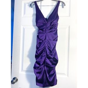 ROYAL PURPLE RUCHED HOMECOMING/PROM DRESS- 2